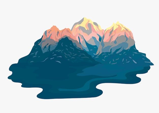 Иллюстрированный пейзаж с видом на горы