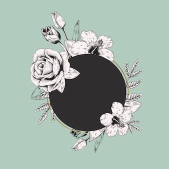 Круглая цветочная этикетка