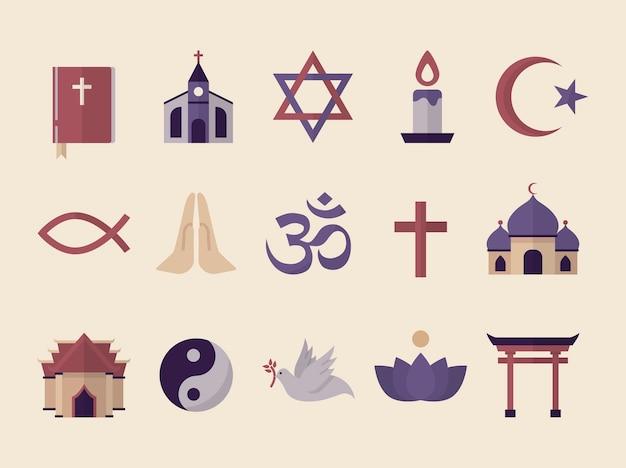 図解された宗教的シンボルの集まり