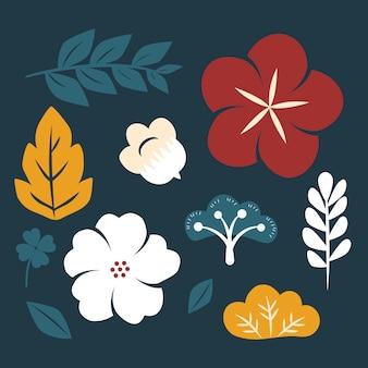 色とりどりの花のセット