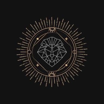 幾何学的なライオンの占星術のタロットカード