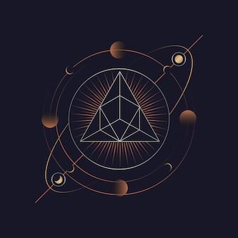 幾何学的ピラミッドの占星術のタロットカード