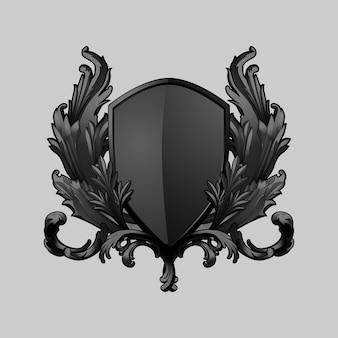 Черный барочный щит элементы вектора