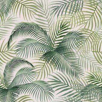ヤシの葉パターンモックアップイラスト