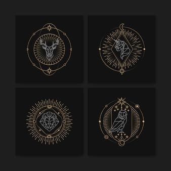 幾何学的な占星術のシンボルタロットカード