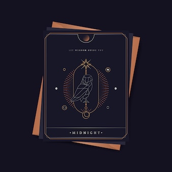 幾何学的なフクロウ占星術タロットカード