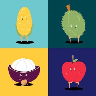トロピカルフルーツの漫画のキャラクターのベクトルのセット