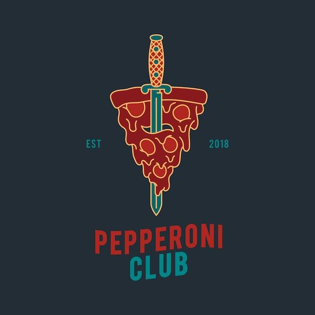 Пепперони пицца дизайн вектор