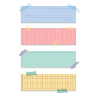 Прямоугольник напоминание бумаги отмечает векторный набор
