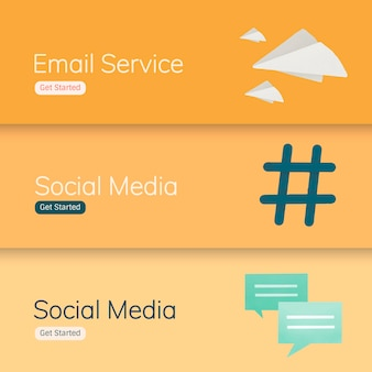 ソーシャルメディアアプリケーションのバナーベクトル