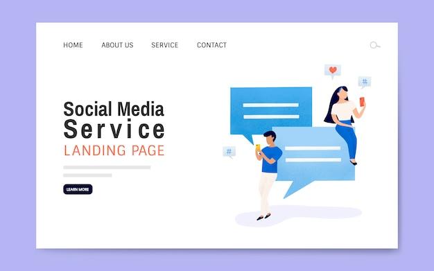 Вектор макета целевой страницы службы социальных медиа