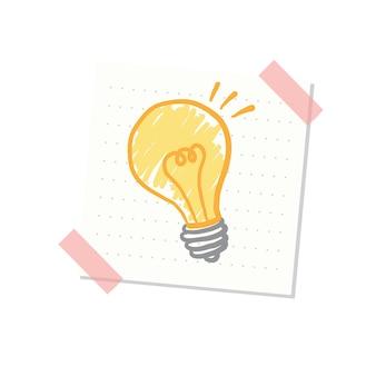 アイデアと電球のイラスト