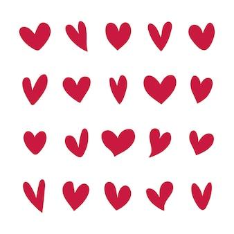 Коллекция иллюстрированных сердечных иконок