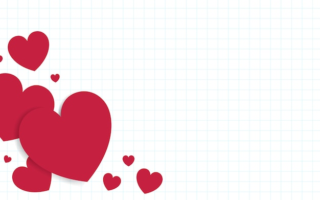 赤いハートの背景デザインのベクトル