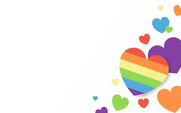 虹色の心の背景のベクトル