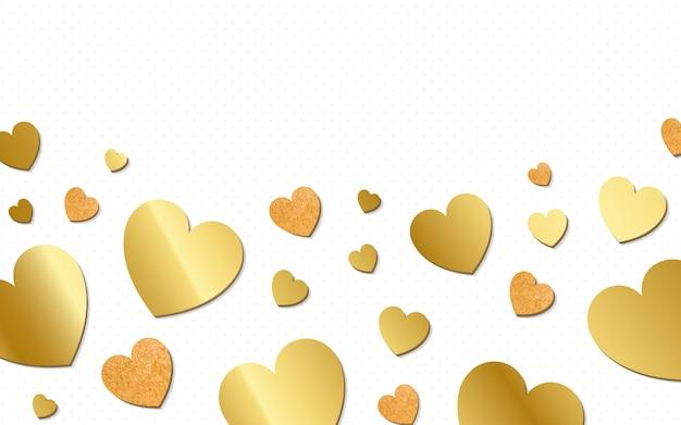Золотые сердца фон дизайн вектор