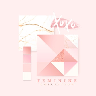 Женский розовый дизайн макета