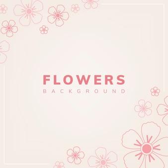 淡いピンクの背景のベクトルと花柄