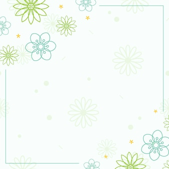 白い背景ベクトルと緑の花模様