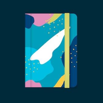 Красочный дизайн обложки ноутбука мемфис вектор