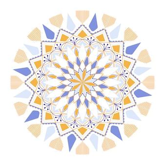 白地にカラフルなマンダラパターン