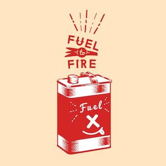 Вектор канистры топлива к огню