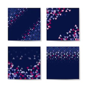 カラフルな三角形の青の背景に模様