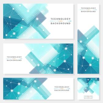 青と白の未来的な技術の背景