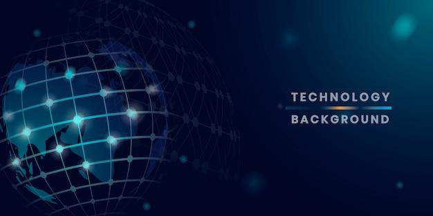Синий глобус футуристический фон технологии вектор