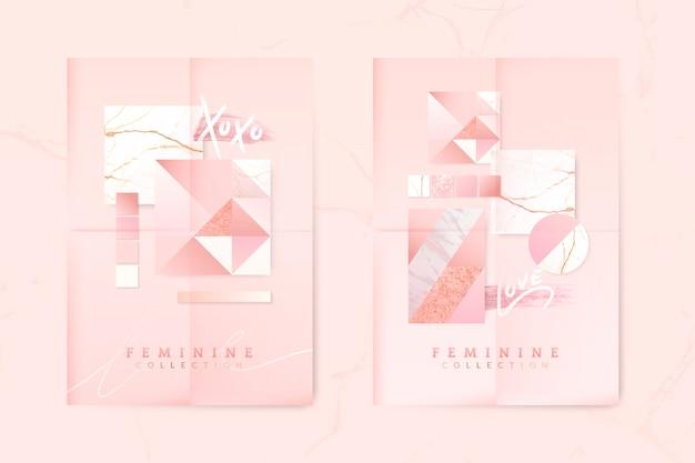 Женский розовый постер
