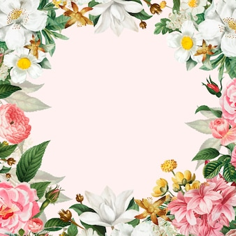 Розовая цветочная рамка