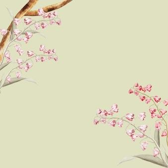 ヴィンテージの花の自然概念フレームデザインベクトル