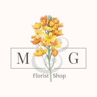 生花店のロゴデザインベクトル