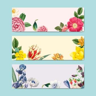 春の花のフレームデザインのベクトル