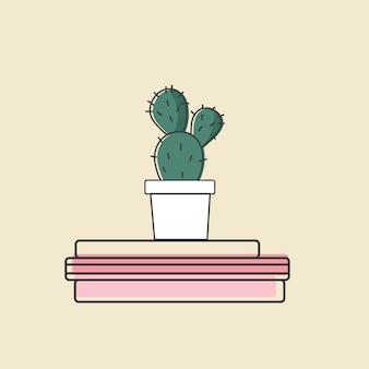 Вектор кактус на книгах