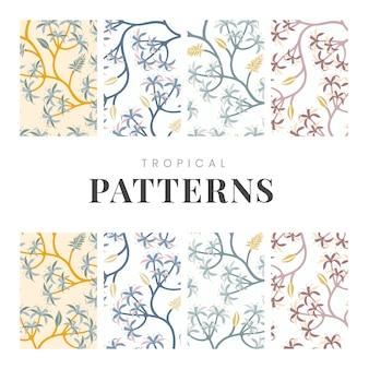 パステル調の自然のシームレスなパターンの背景設定ベクトル