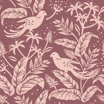 自然の中で鳥のシームレスなパターン背景ベクトル