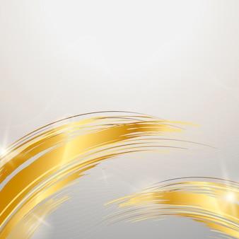 黄金の波の抽象的な背景のベクトル
