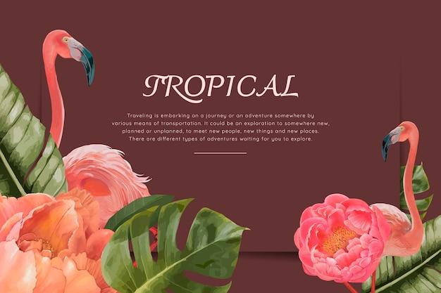 手描きの熱帯のフラミンゴ