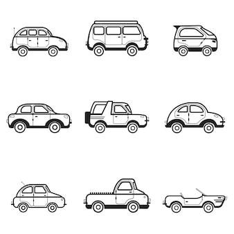 Коллекция легковых и грузовых автомобилей иллюстрации