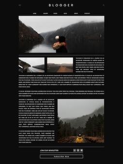 旅行ブログの最初のページのテンプレートデザインのベクトル