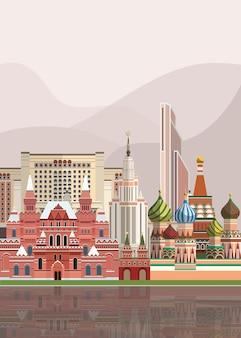 ロシアのランドマークのイラスト