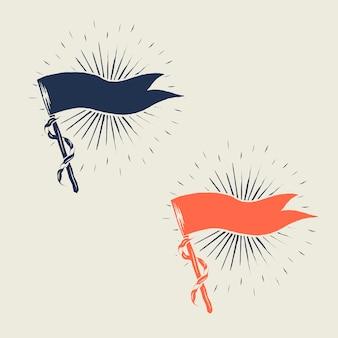 Винтажные флаги солнечных лучей