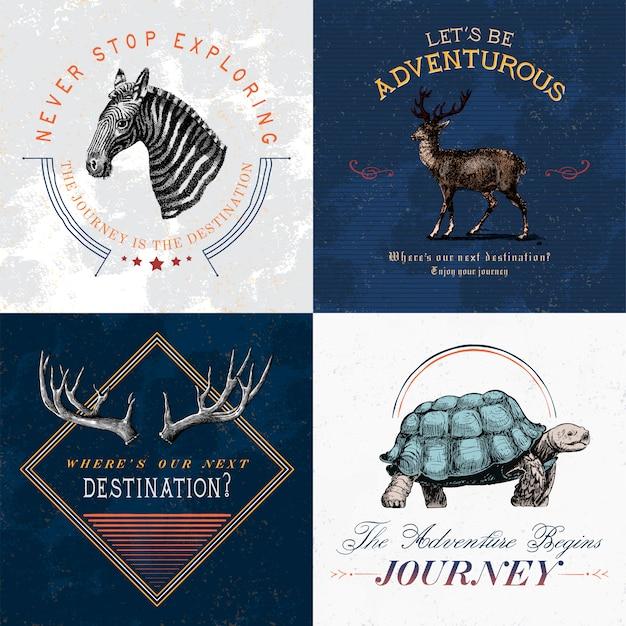 Коллекция приключенческих логотипов дизайн векторов