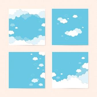 Голубое небо с облаками с рисунком фона векторный набор