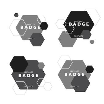 黒と白の六角形の幾何学模様のバッジベクトルセット