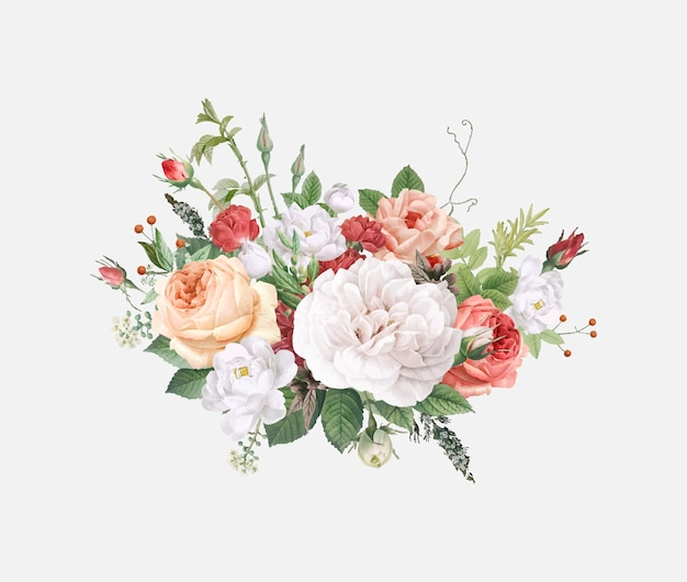 花柄のデザインの結婚式の招待状