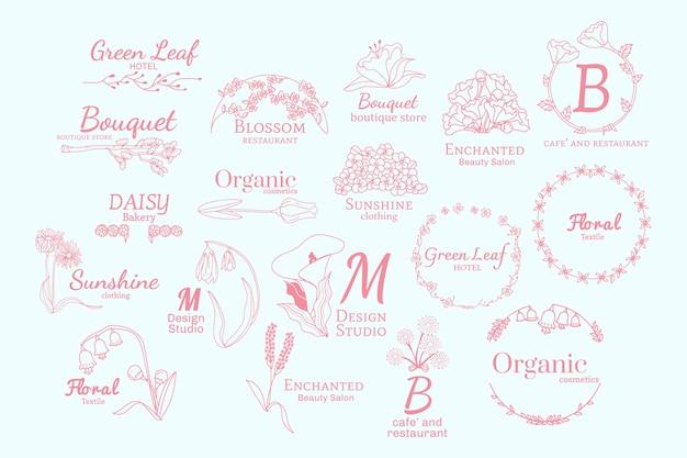 Набор цветочных логотипов