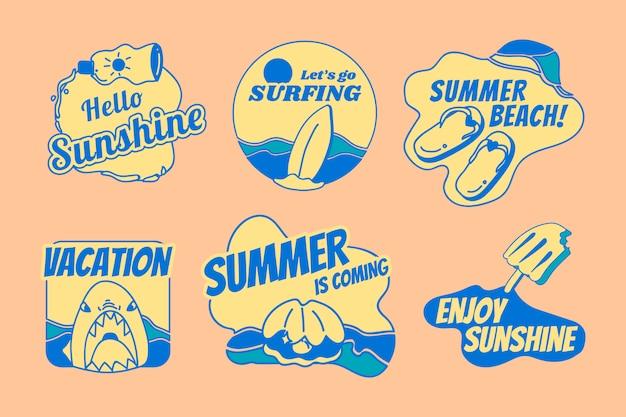 レトロな夏バッジセット