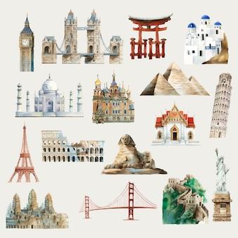 世界の水彩イラストの周りの建築ランドマークのコレクション